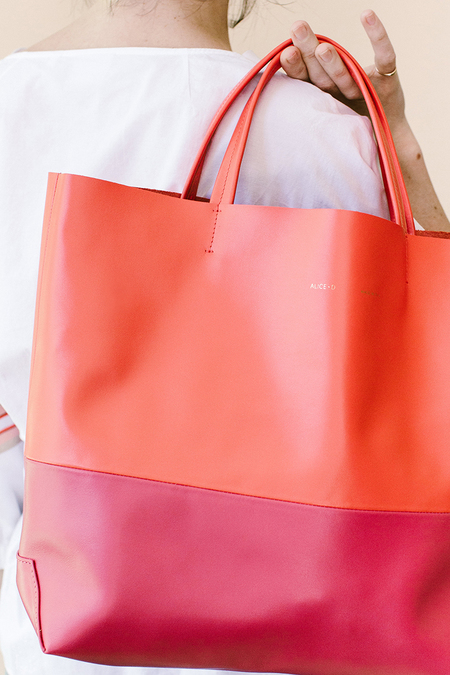 Alice D. Melon Leather Tote - melon/ pink