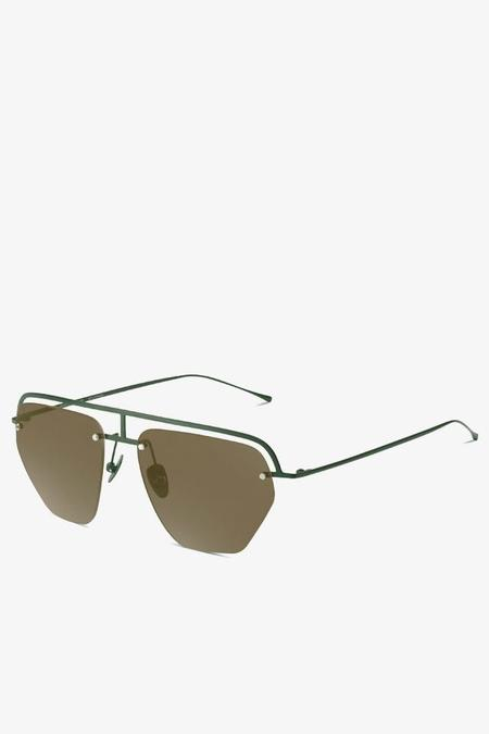 Smoke x Mirrors The Line 1 Aviator Sunglasses - Matte Green/Brown