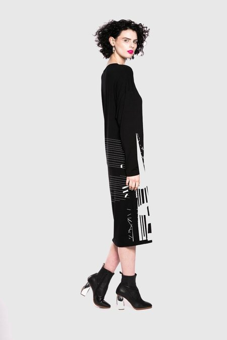 Maaike Layer Dress - Black/Graphic Seam Print