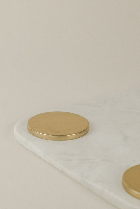 Hawkins New York Large Serving Board - White Marble/Brass