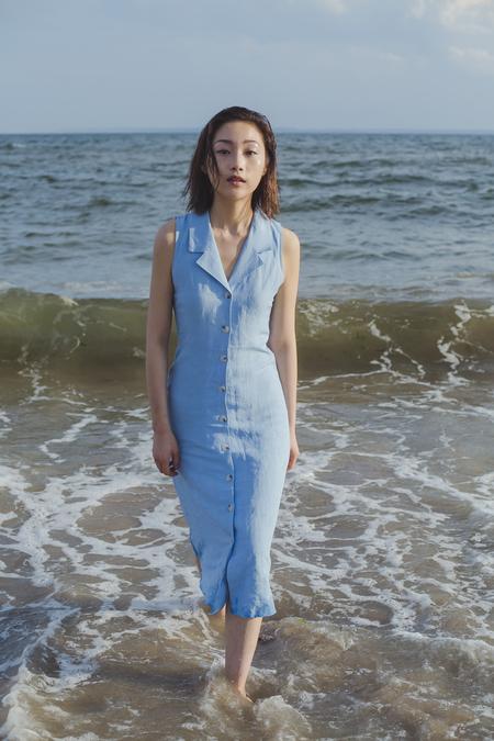 THXGIVING Notch Collar Long Dress - Blue