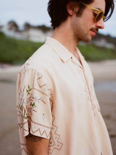 BODE EMBROIDERED LEISURE SHIRT - BEIGE