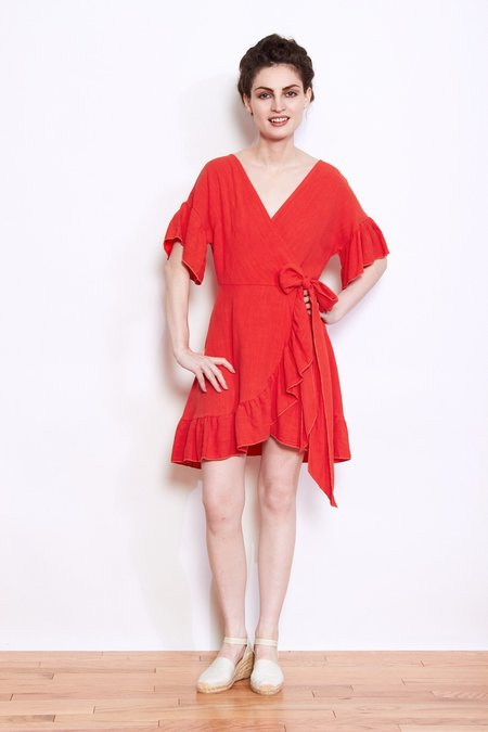 Shale Mare Dolly Wrap Dress - Poppy