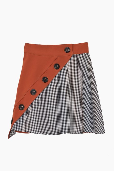 CONSTANZA OQUENDO Merida Asymmetric Mini Skirt - Tan/Gingham