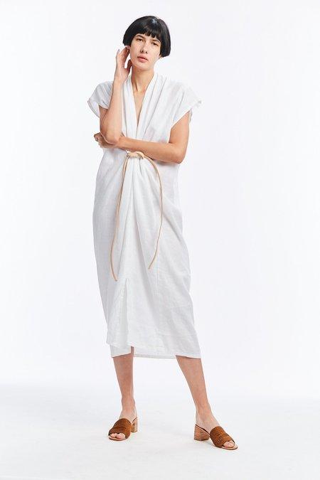 Miranda Bennett Linen Knot Dress - White