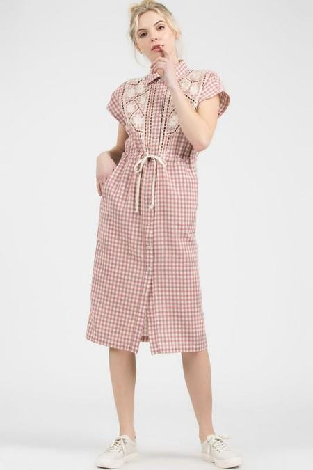 POL Picking Berries Gingham Shirt Dress - Pink