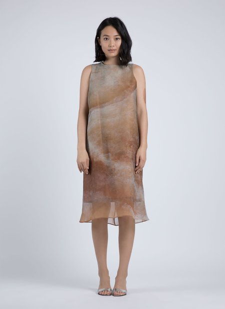 Kaarem Moon A-Line Printed Organza Silk Dress - Orange Veinstone