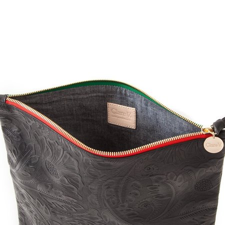 Clare V. Foldover Clutch - Black Tooled Floral