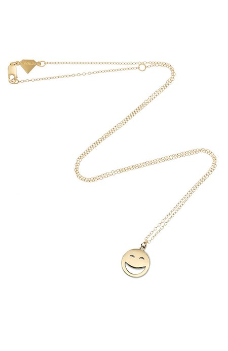 ALISON LOU 14K Large ROTFL Face Necklace - yellow gold