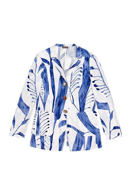 Maliparmi cotton watercolor print jacket with mixed buttons