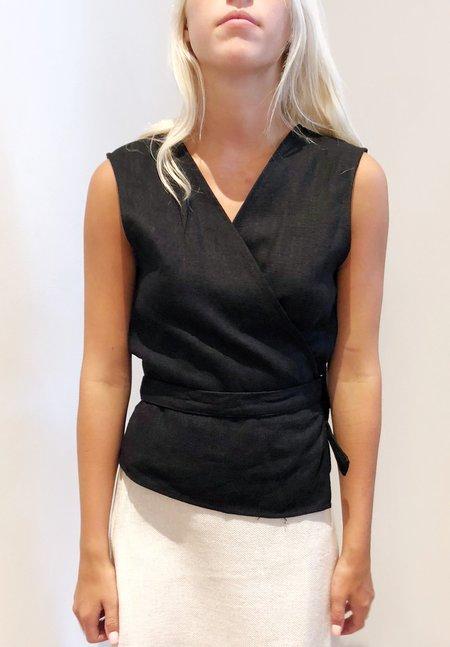 Nicole Kwon Concept Store Twill Linen Wrap Top - black