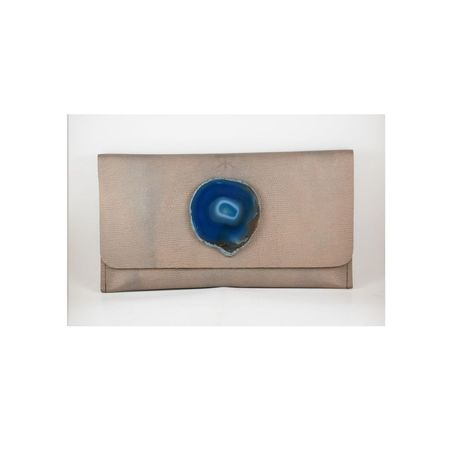 Krava Soft Leather with Blue Stone Clutch - Gold