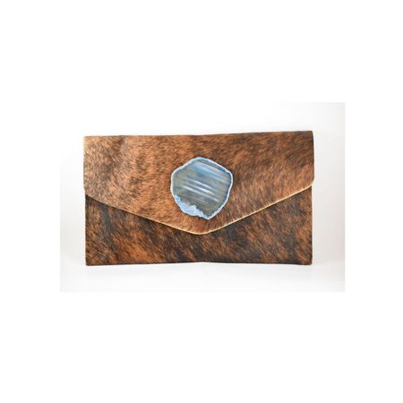 Krava Haircalf with Blue Stone Clutch - Camel