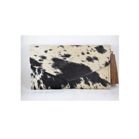 Krava Haircalf with Brown Tassel Clutch - Black