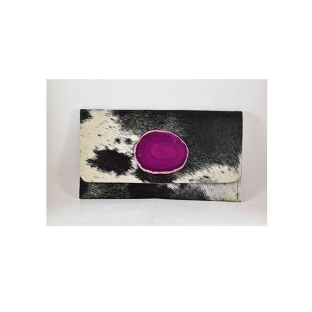 Krava Haircalf with Pink Stone Clutch - Black