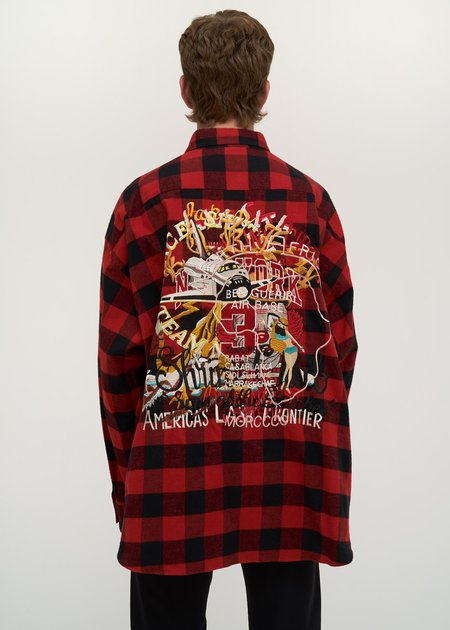 Doublet Chaos Embroidery Check Shirt - red/black