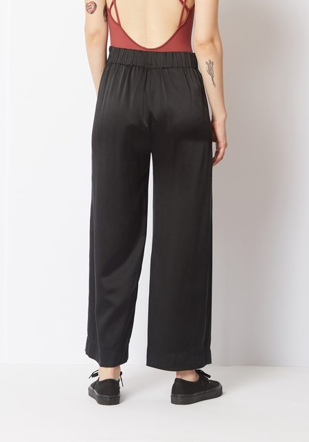 Her Line  Satin Pants - Black Sandwash