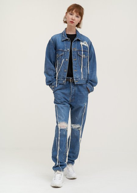 Doublet Too Much Damage Denim Jacket - blue