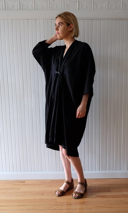 Miranda Bennett Silk Noil O'Keefe Dress - Black