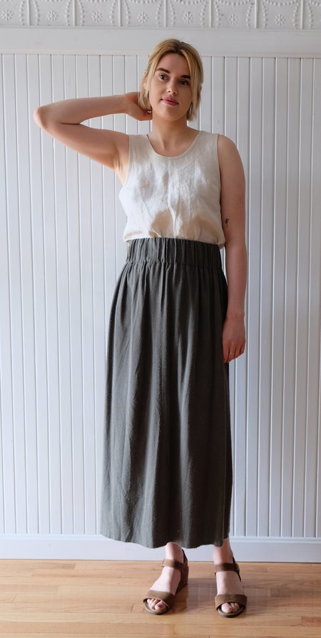 Miranda Bennett Silk Noil Paper Bag Skirt - Savannah Grey