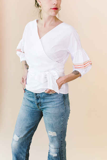 STYLE CAMP Italian Wrap Blouse - White
