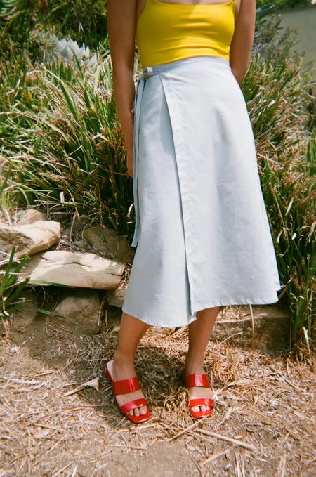 Lisa Says Gah For Garmentory   Capri Linen Wrap Skirt - Dusty Blue