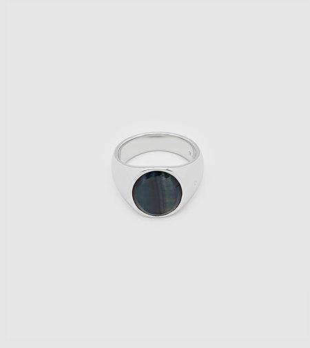 Tom Wood Oval Signer Ring - Blue Hawk Eye