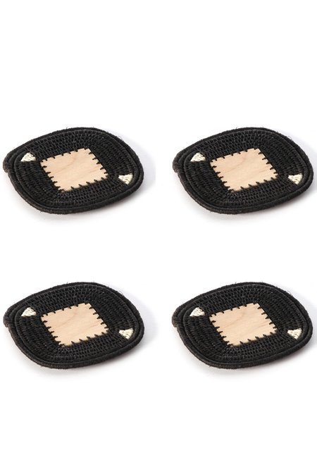 Charlie Sprout Woven Raffia Solid Coasters (Set of 4)