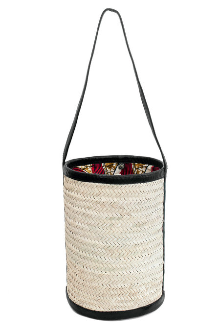 Parme Marin Straw-Ling Large Bucket Bag