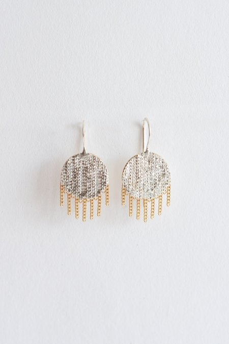 Hannah Keefe Ladybug Earrings - Brass/Silver