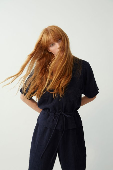BLACK CRANE Short sleeve SACK JUMPER - NAVY