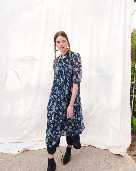 Raquel Allegra Peasant Tiered Chiffon Dress - Navy Floral Bandana