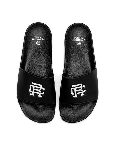 Reigning Champ RC Monogram Slides - Black/White