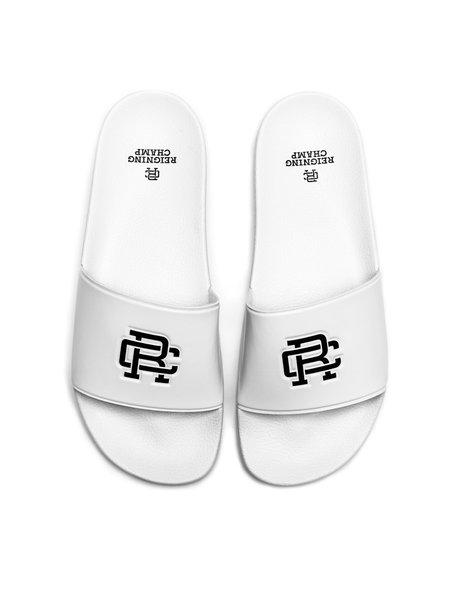 Reigning Champ RC Monogram Slides - White/Black