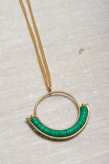 Alchemilla Portal Hoop Necklace - Emerald