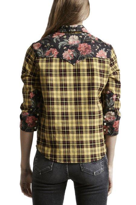 R13 Exaggerated Collar Cowboy Shirt - YELLOW/BLACK