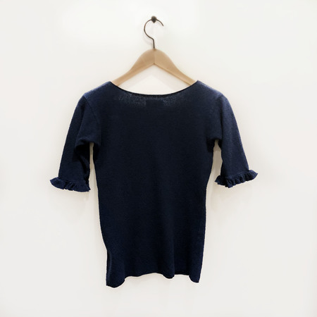 Atelier Delphine Frilled Sleeve Tee - Peacock