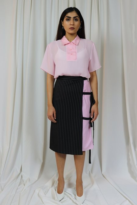 ROCKET X LUNCH Pinstriped Wrap Skirt - Black/Pink