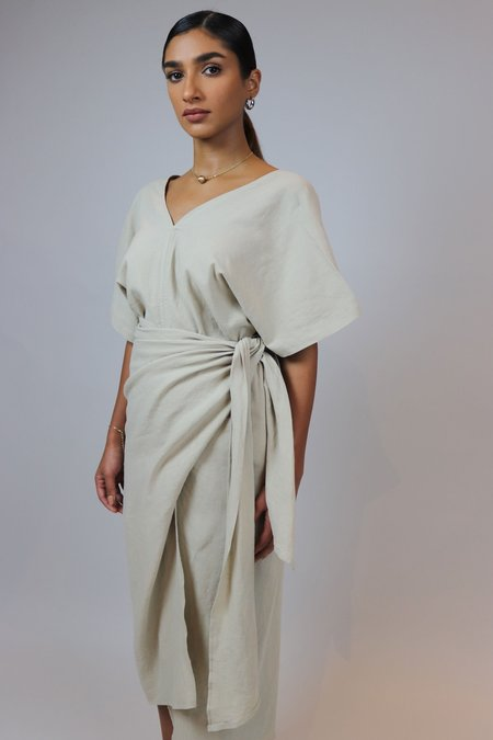 W A N T S Wrapped Linen Top and Skirt Set - Beige