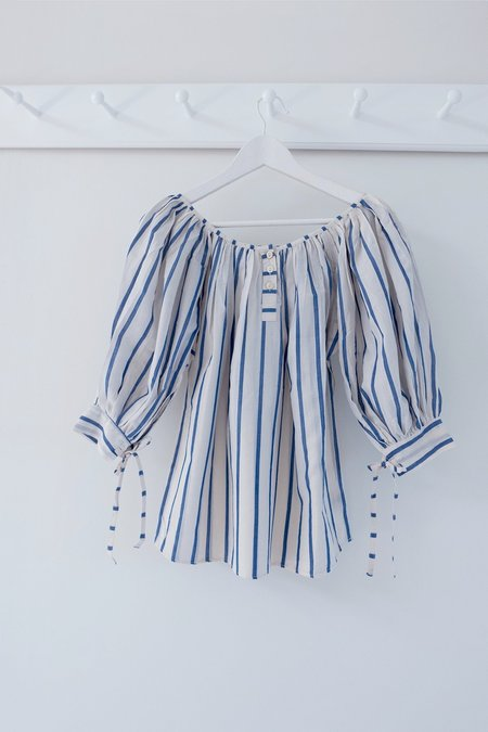 Karu Puff Blouse - Striped Ikat