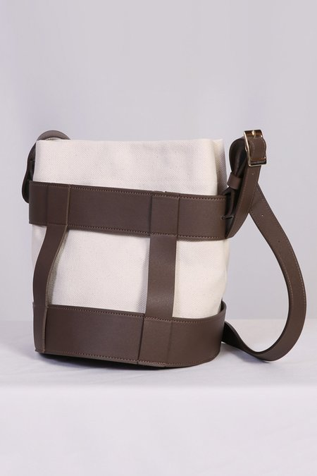 W A N T S Leather Bucket Bag - White/Brown