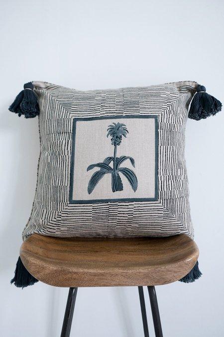 Karu Pineapple Flower Linen Tassel Cushion - grey/blue