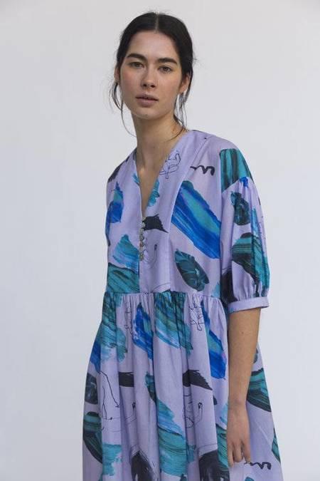 Heinui Mar Dress - Lilac/Green Stokes Print