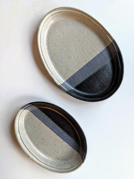 Len Carella x Kettle & Brine Oval Stoneware Platter - Black/White