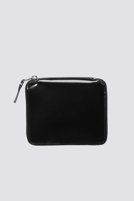 Comme des Garçons Leather Wallet with Mirror Inside - black