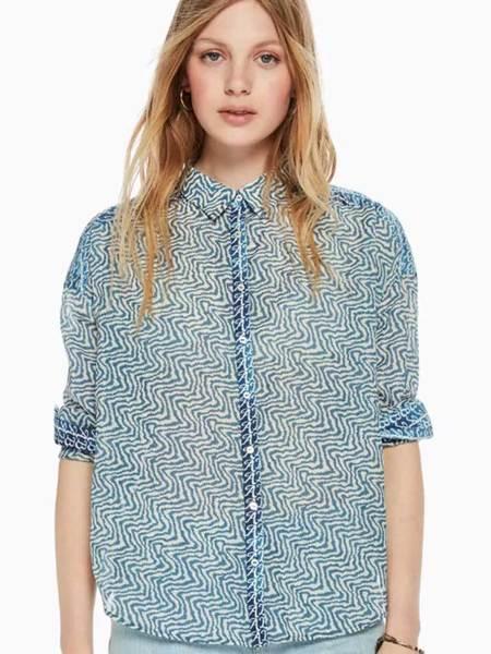 Maison Scotch Print Shirt - Blue