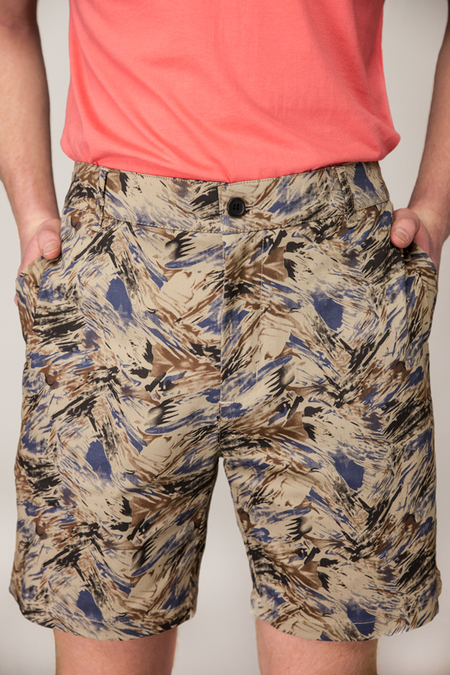 RVLT Abstract Print Short - KHAKI
