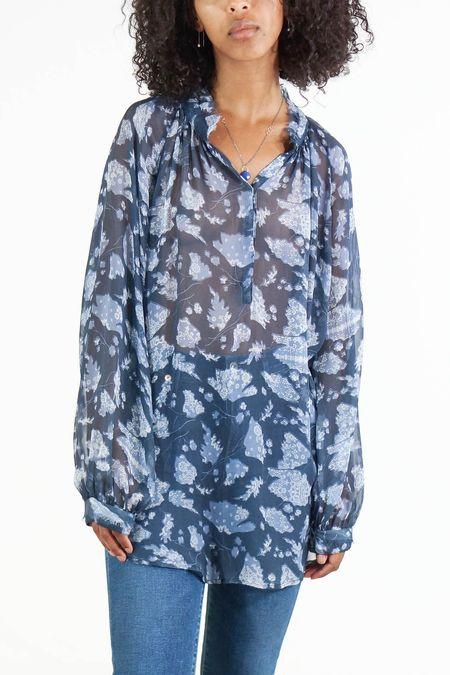 1a523827da9f1 ... Raquel Allegra Ruffle Chiffon Raglan Collar Blouse - Navy Floral