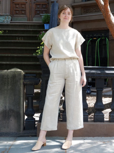 Chistine Alcalay Linen Wide Leg Cropped Trouser - Gold