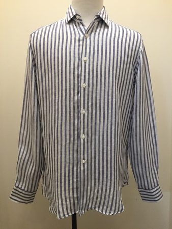 Fig Long Sleeve Linen Stripe Shirt - White/Navy
